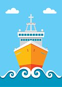 Cruise liner - vector illustration in flat design style. Ship vector illustration.