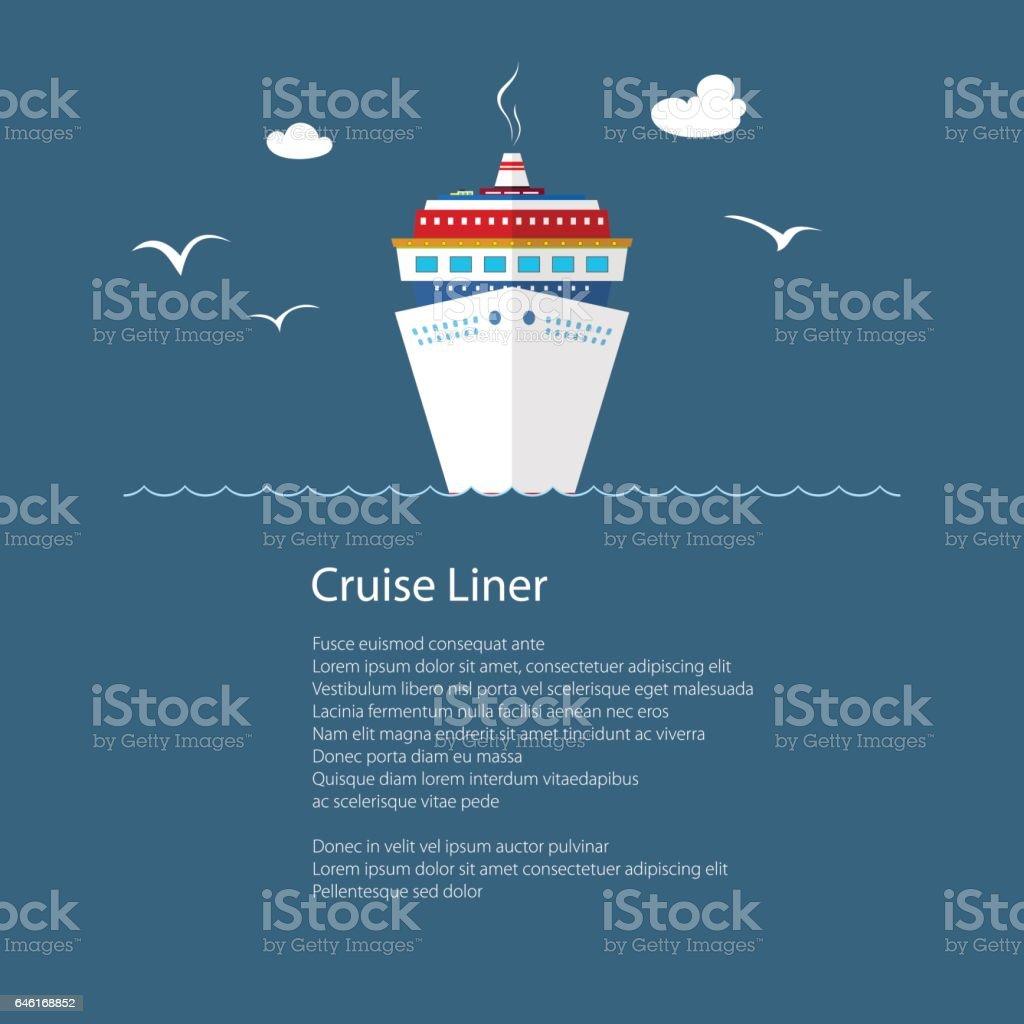 Cruise Ship at Sea and Text vector art illustration