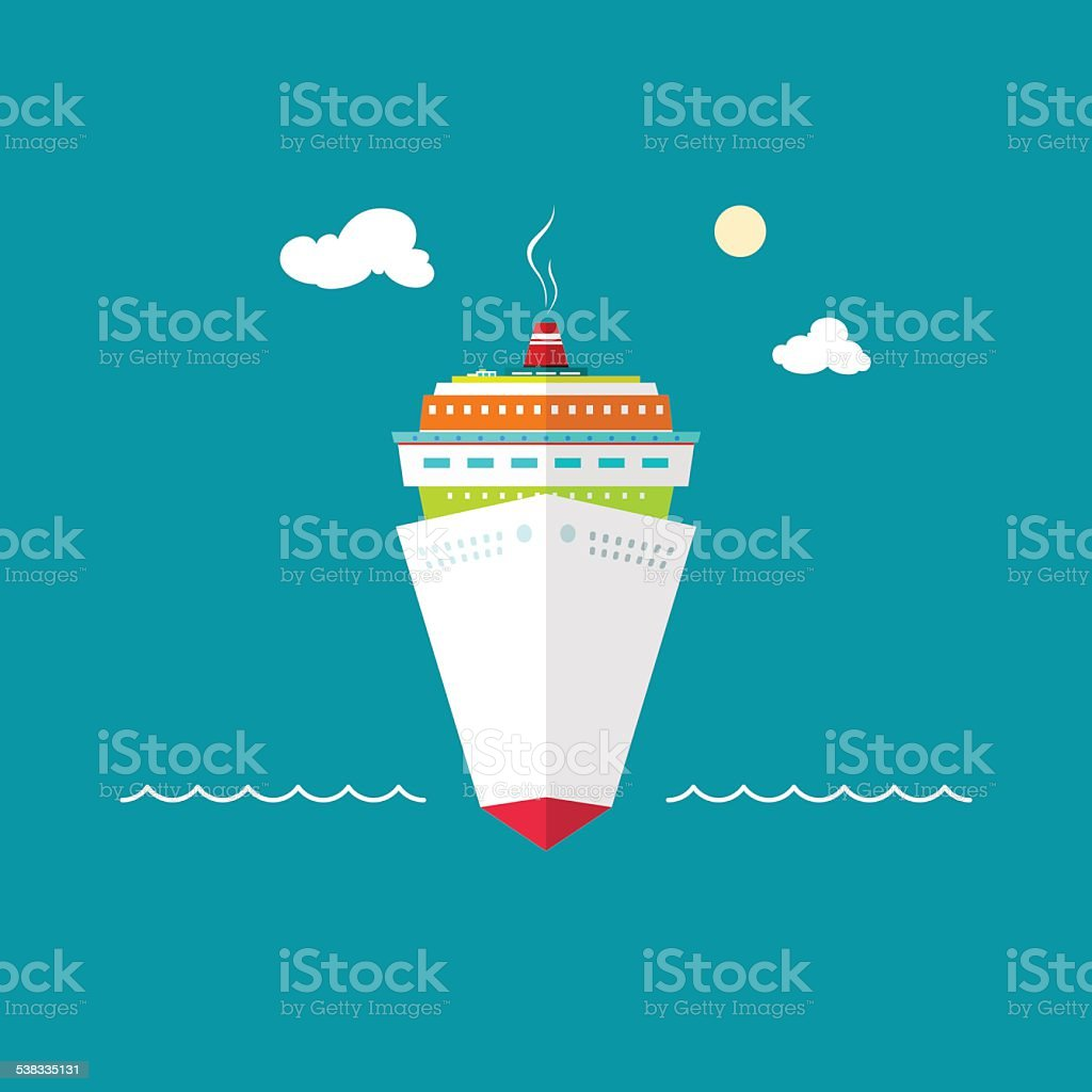 Cruise ship at sea or in the ocean vector art illustration