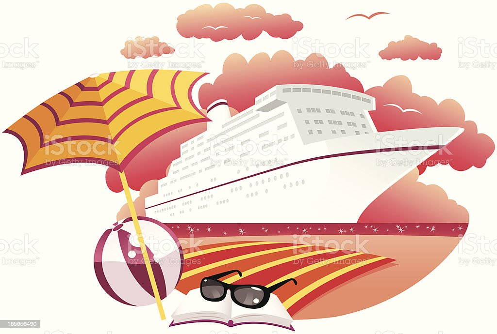 Cruise ship at sunset anchored offshore royalty-free stock vector art