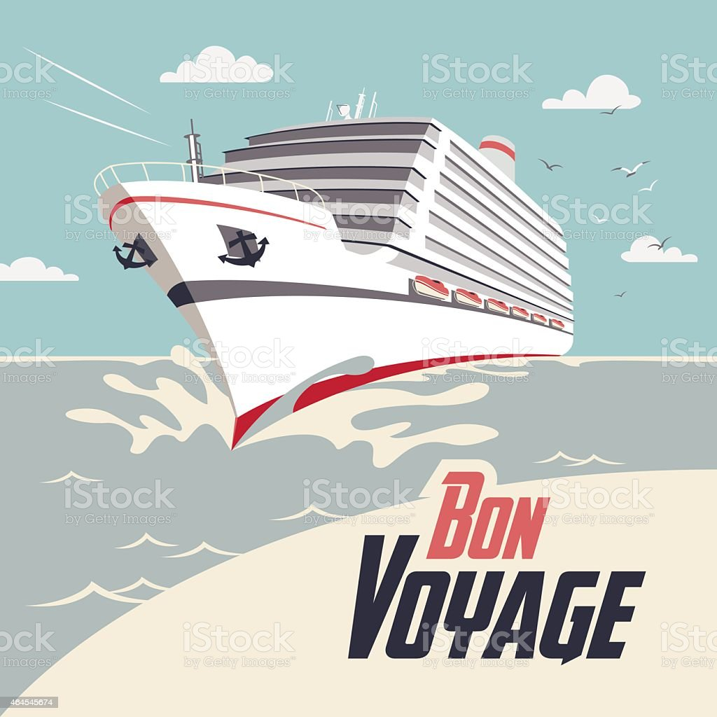 Cruise ship Bon Voyage illustration vector art illustration