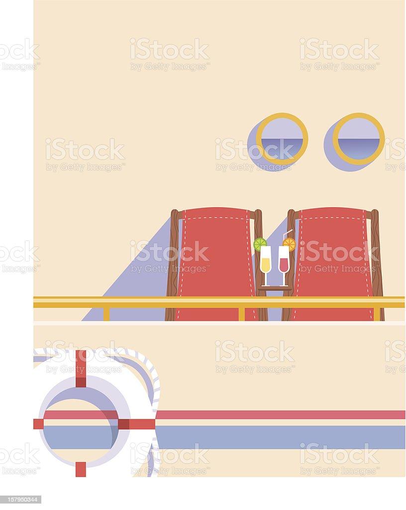 Cruise ship chairs vector art illustration