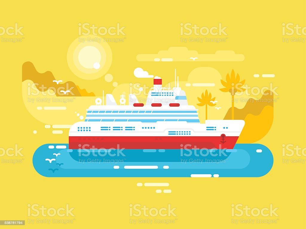 Cruise ship design flat vector art illustration