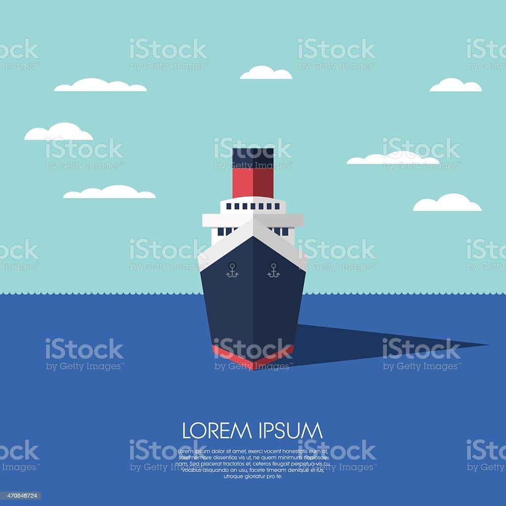 Cruise ship holiday vacation. Modern flat design low polygonal model vector art illustration