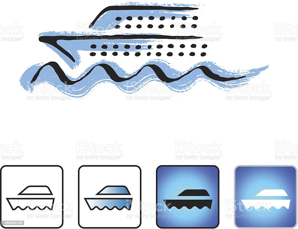 Cruise ship icon set royalty-free stock vector art