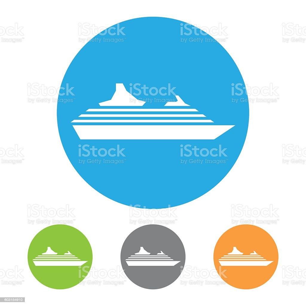 Cruise Ship Icon vector art illustration