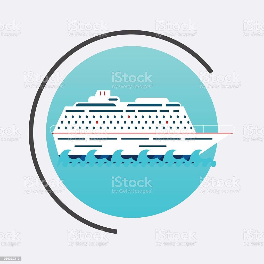 Cruise Ship icon. Vector travel concept background. Flat design vector art illustration