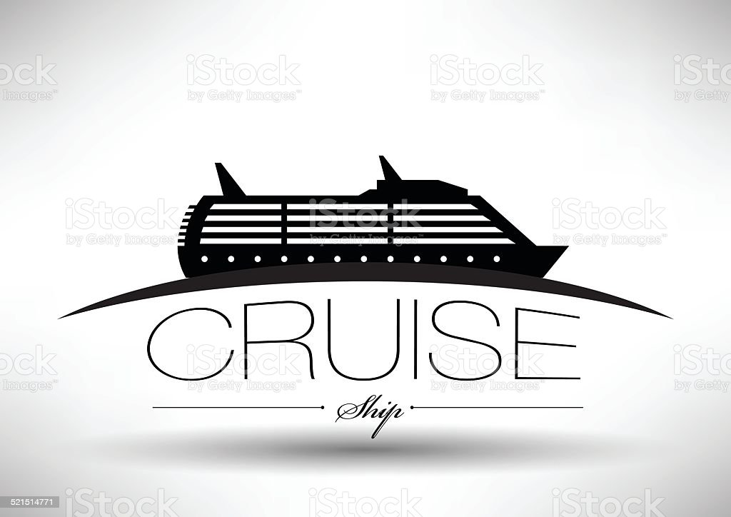 Cruise Ship Icon with Typographic Design vector art illustration