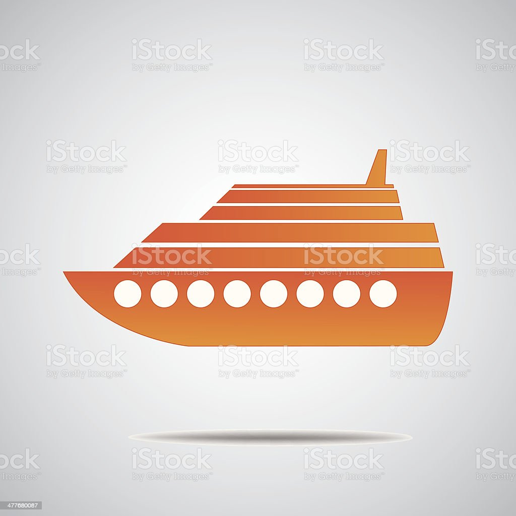 Cruise ship isolated vector art illustration