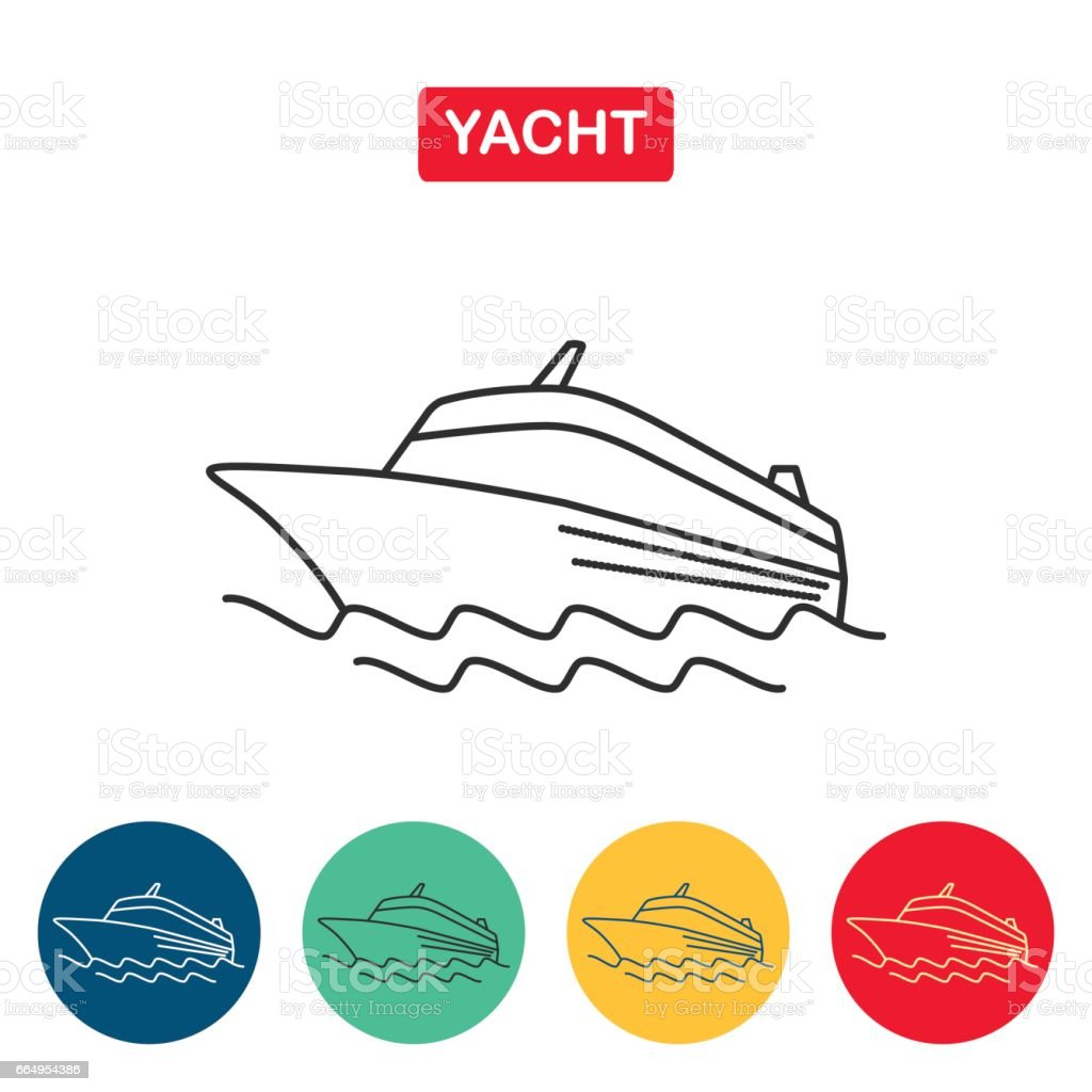Cruise ship logo. Yacht vector art illustration