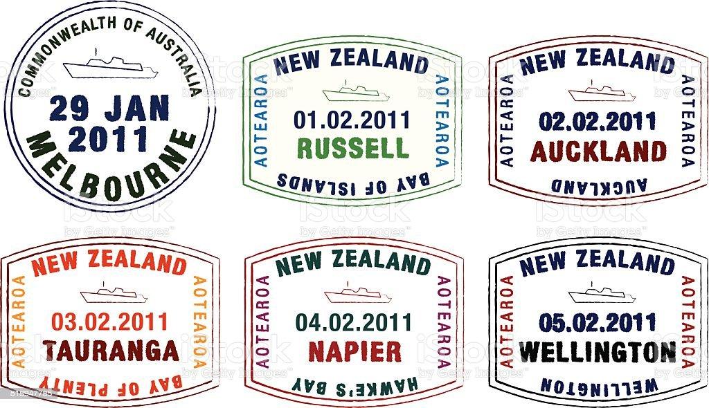 Cruise ship passport stamps vector art illustration