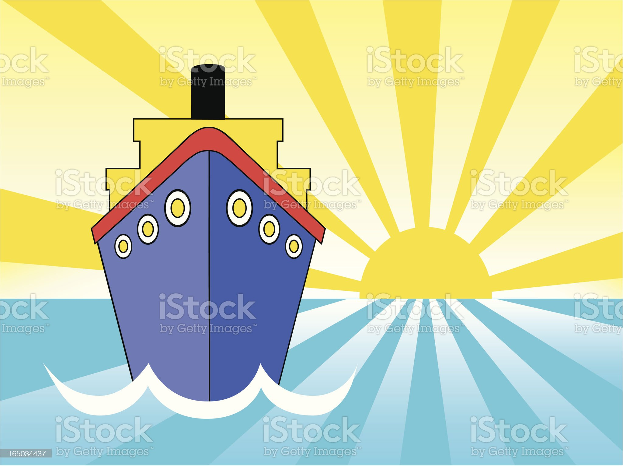 cruise ship sunset royalty-free stock vector art