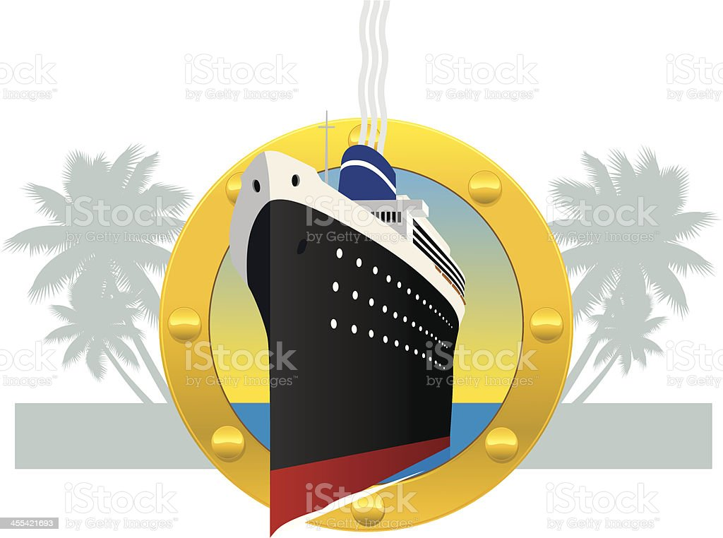 Cruise Ship Through a Porthole royalty-free stock vector art