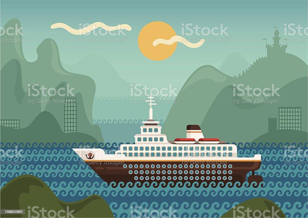 Cruise ship. royalty-free stock vector art