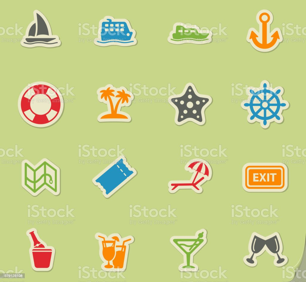 Cruise simply icons vector art illustration