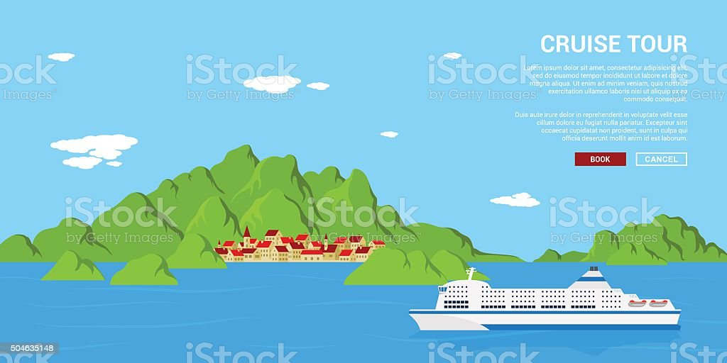 cruise tour banner vector art illustration