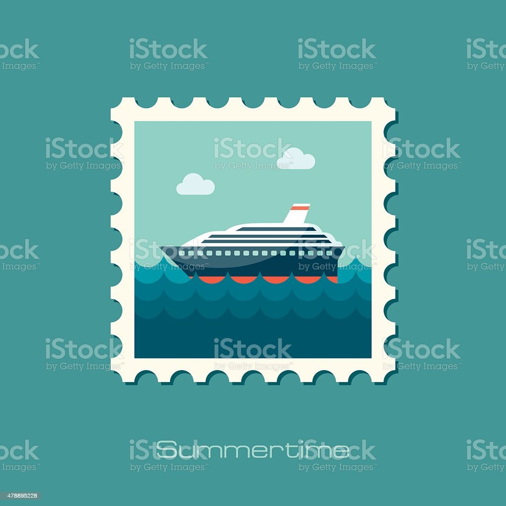 Cruise transatlantic liner ship flat stamp vector art illustration