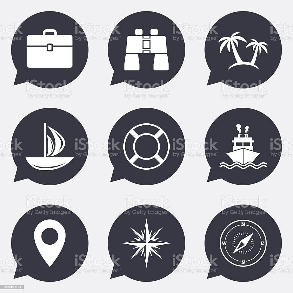 Cruise trip, ship and yacht icons. Travel signs. vector art illustration