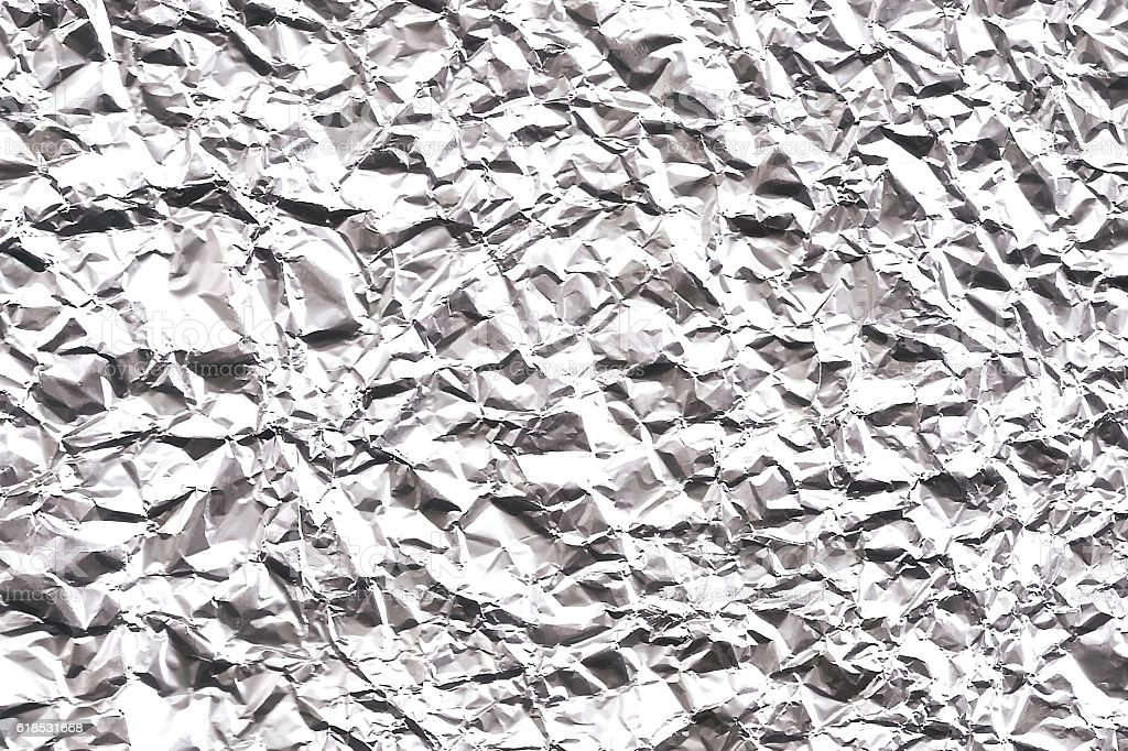 Crumpled Aluminum Foil Texture - Wide Background vector art illustration