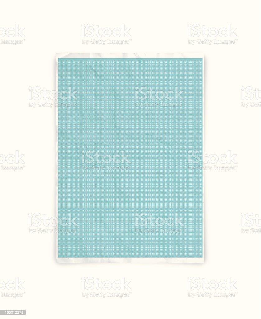 Crumpled graph paper vector art illustration