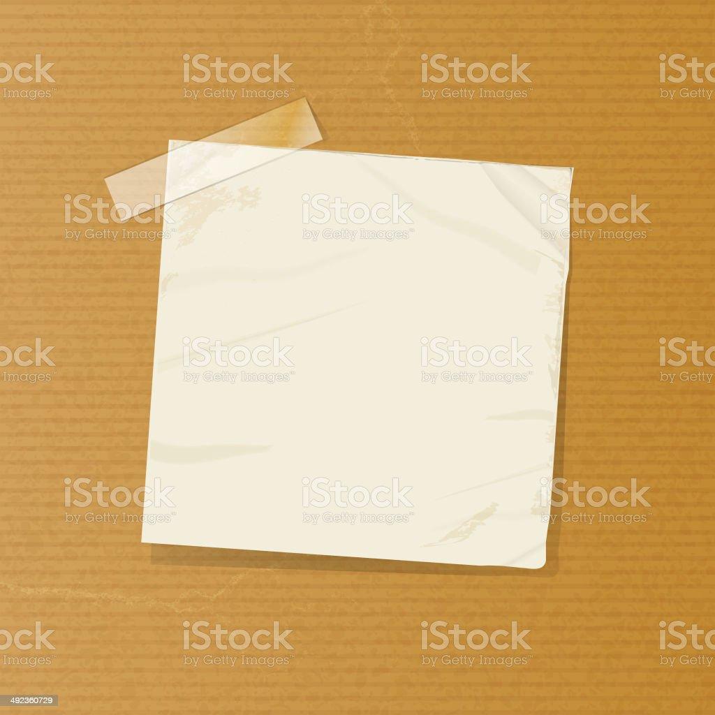 crumpled note on brownpaper vector art illustration