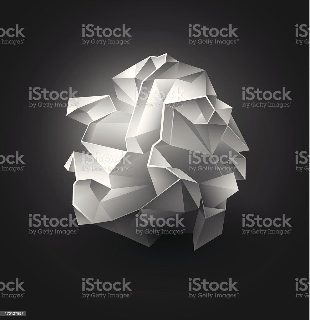 Crumpled paper ball vector art illustration