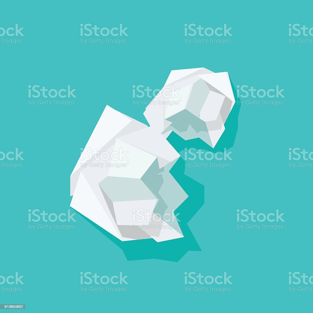 Crumpled paper ball vector illustration isolated on blue background vector art illustration