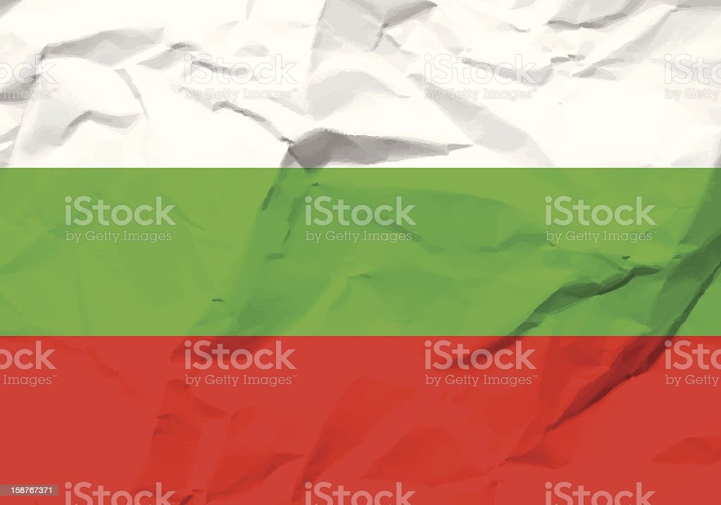 crumpled paper Bulgaria flag royalty-free stock vector art