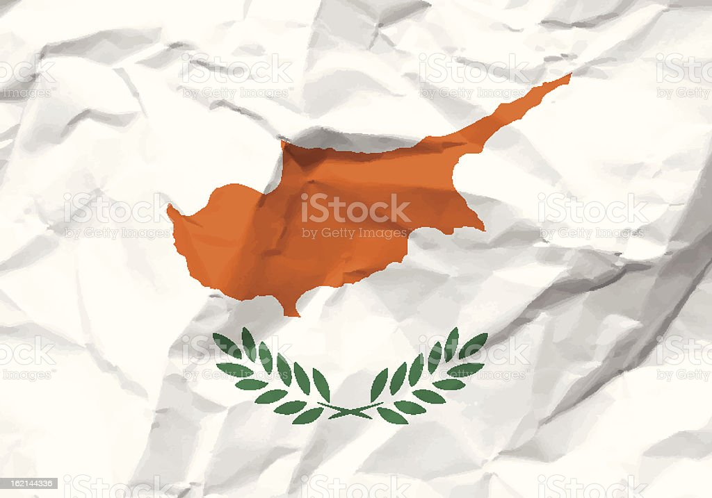 crumpled paper Cyprus flag royalty-free stock vector art