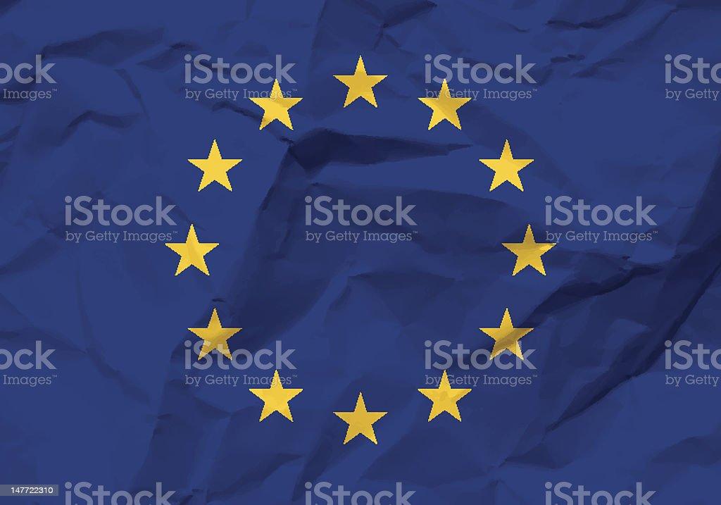 crumpled paper European union flag royalty-free stock vector art