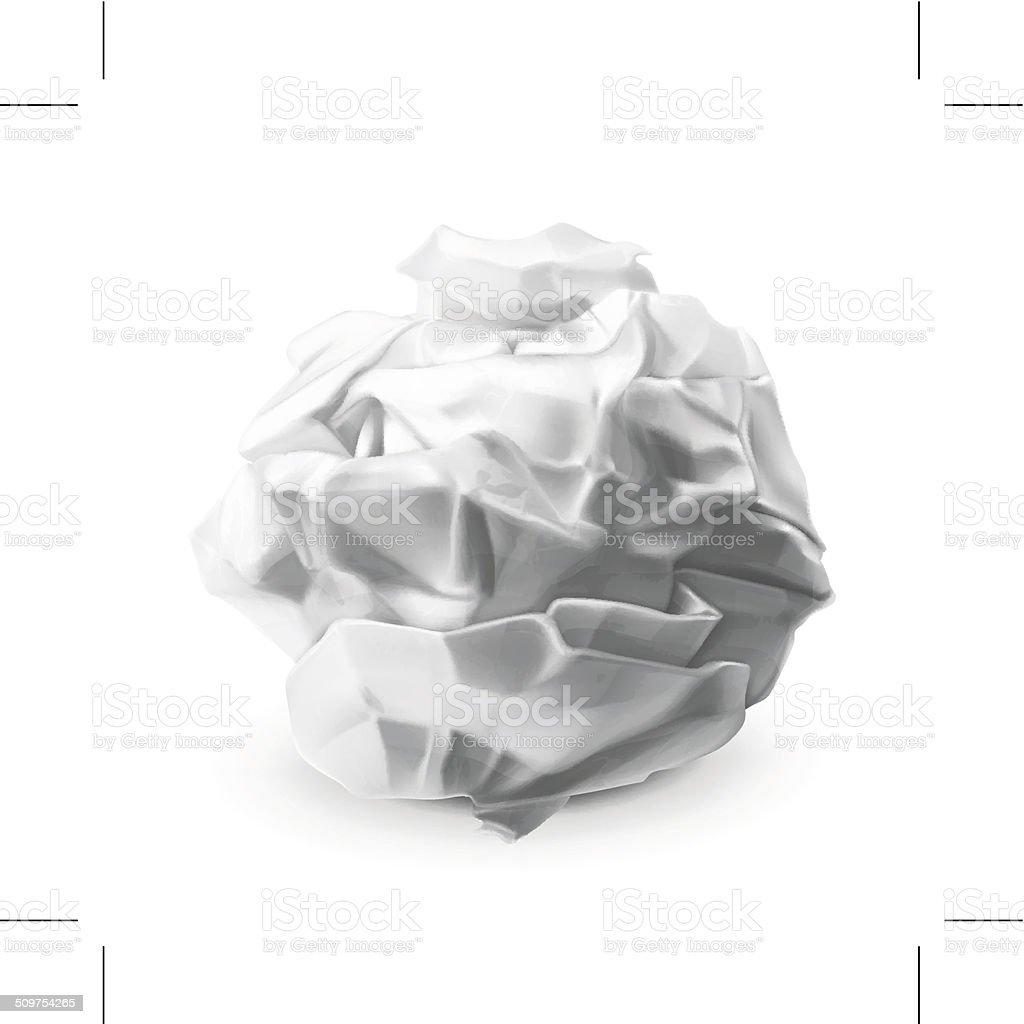 Crumpled paper vector art illustration