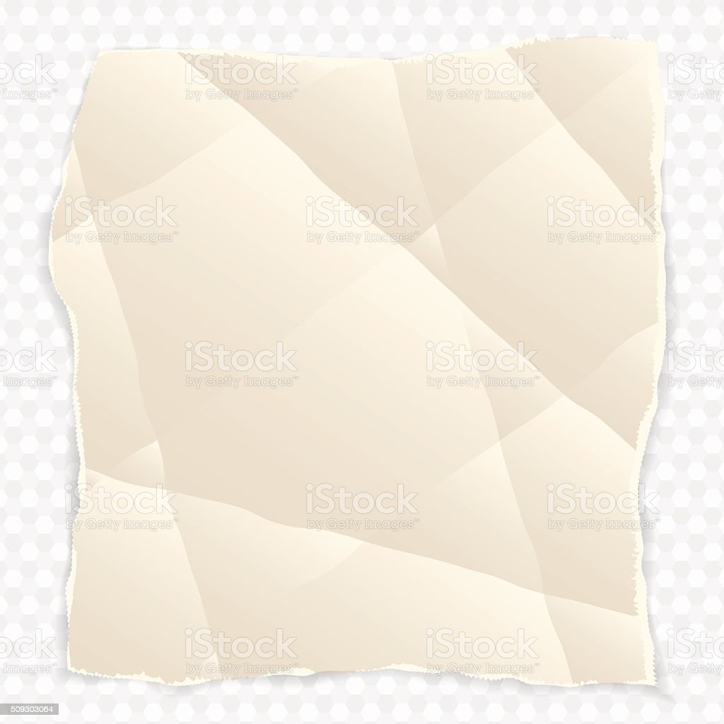 crumpled piece of paper with torn edges vector art illustration