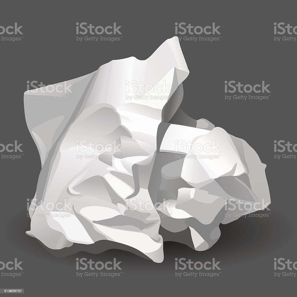 Crumpled White Paper vector art illustration