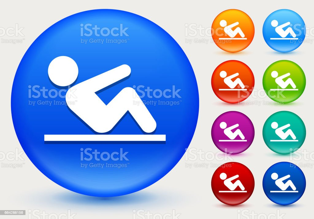 Crunches Icon on Shiny Color Circle Buttons vector art illustration