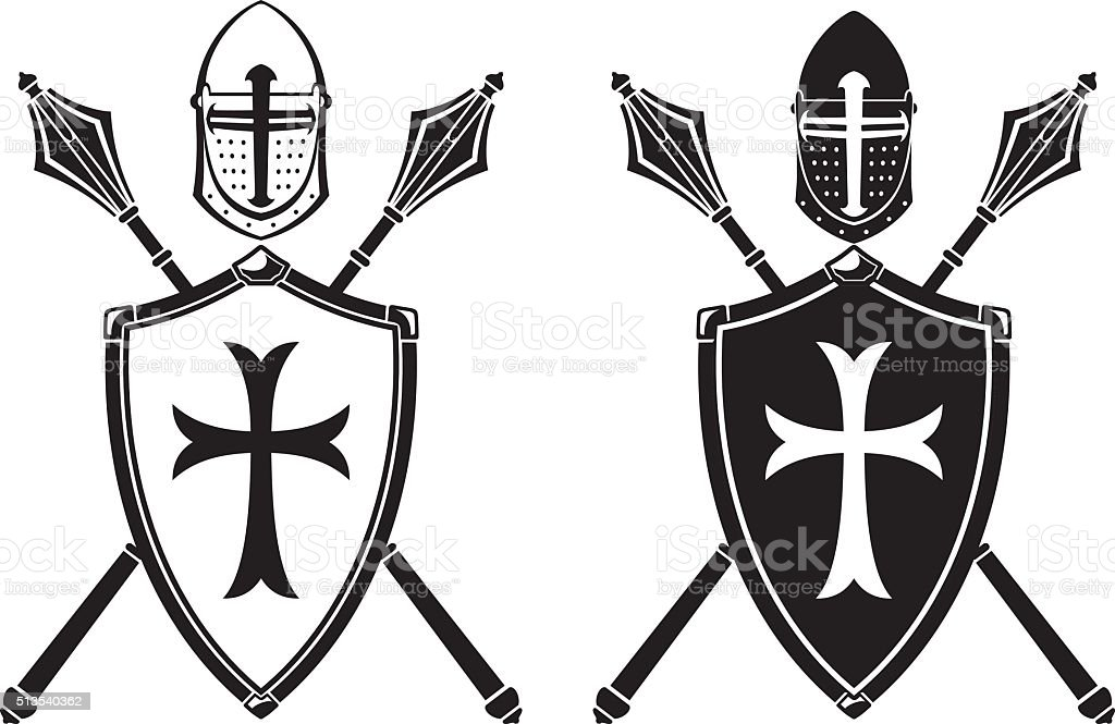Crusader Crest Armor and Mace Weapon vector art illustration