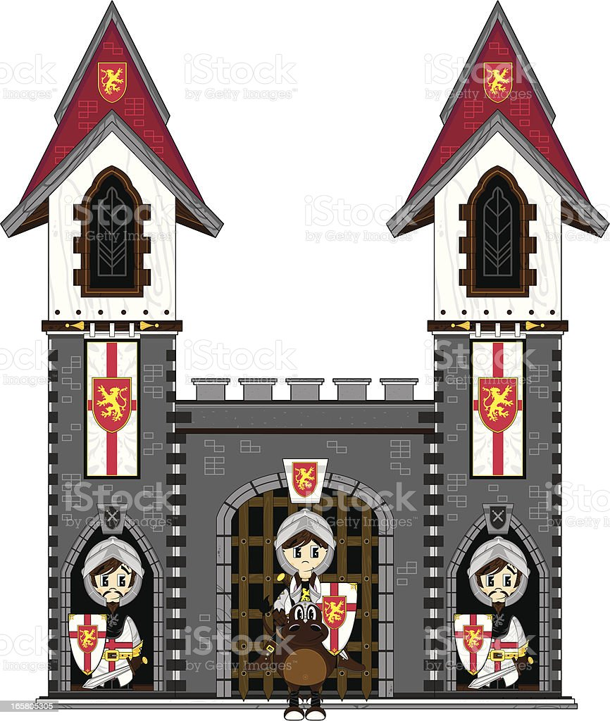 Crusader Knights at Castle royalty-free stock vector art