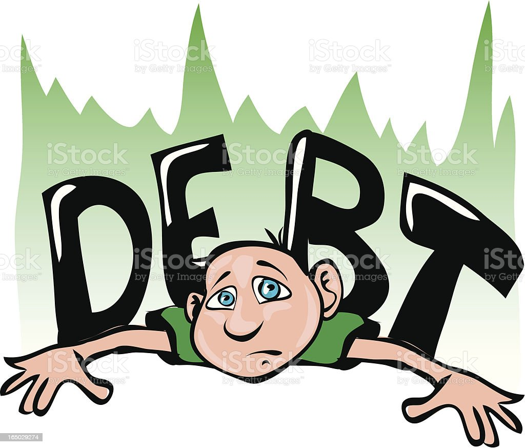 Crushed By Debt? royalty-free stock vector art