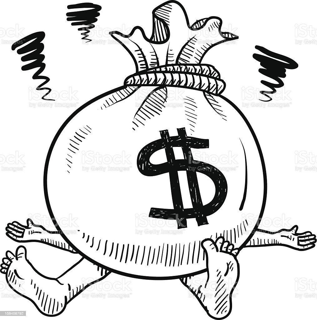 Crushed by financial burdens sketch vector art illustration