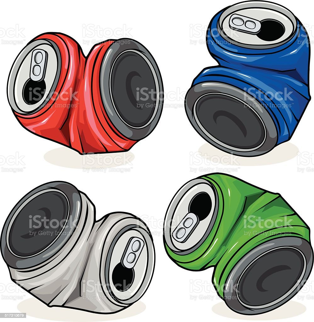 Crushed tin cans vector art illustration
