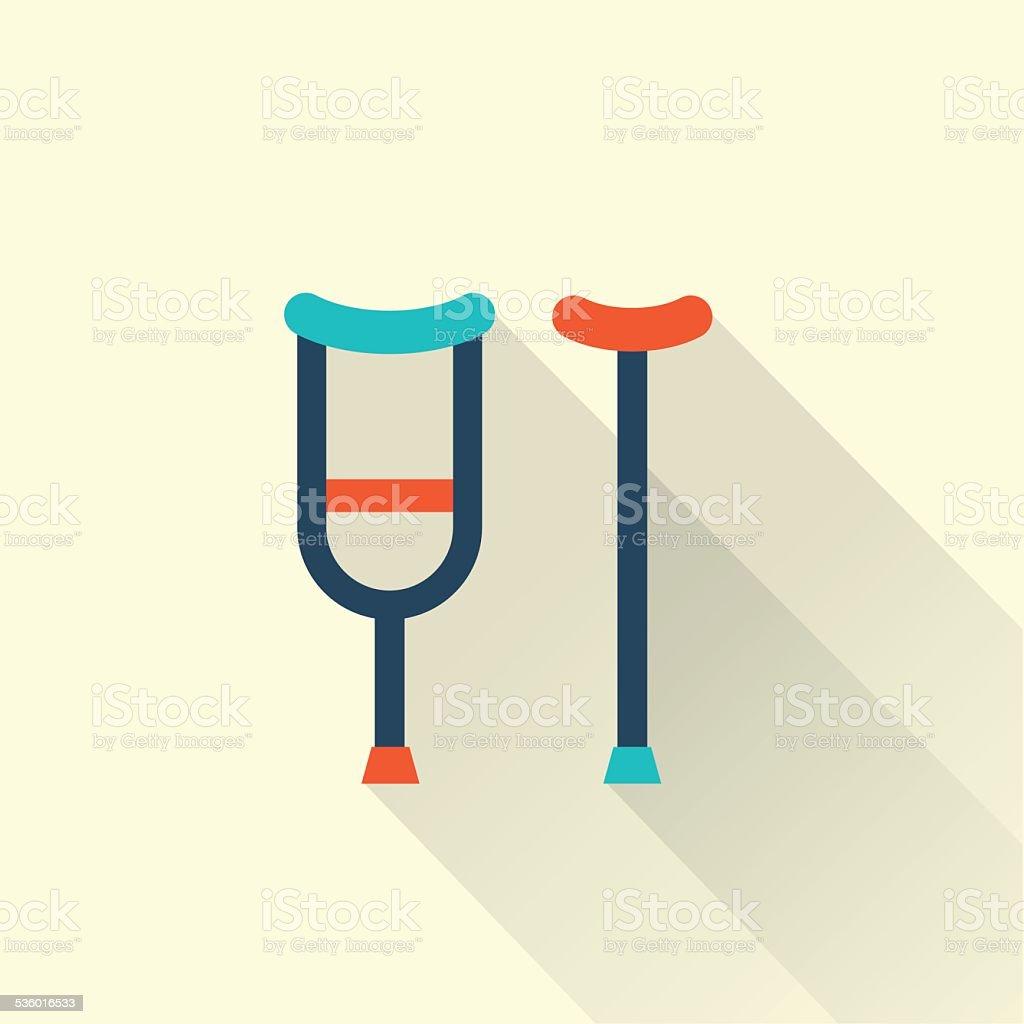 crutch flat icon vector art illustration