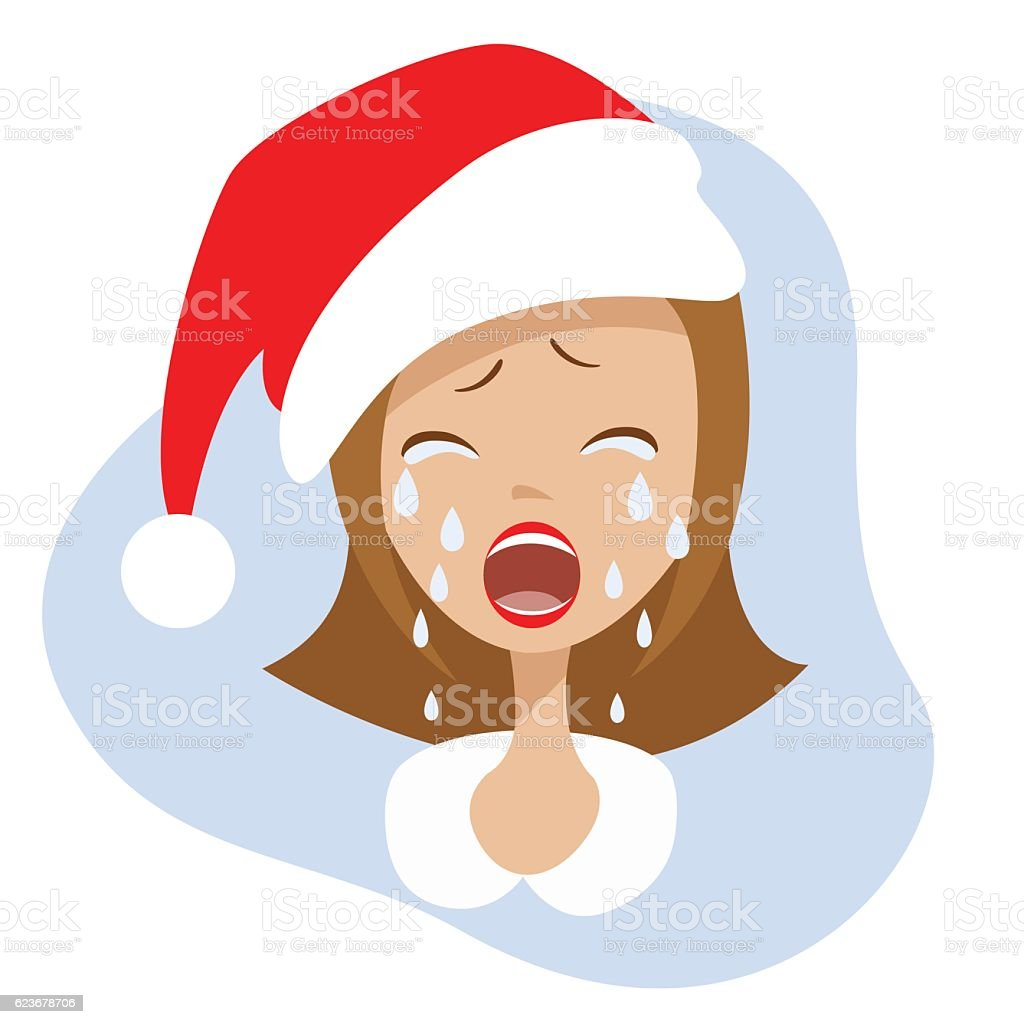 Cry girl in the hat of Santa Claus. vector art illustration