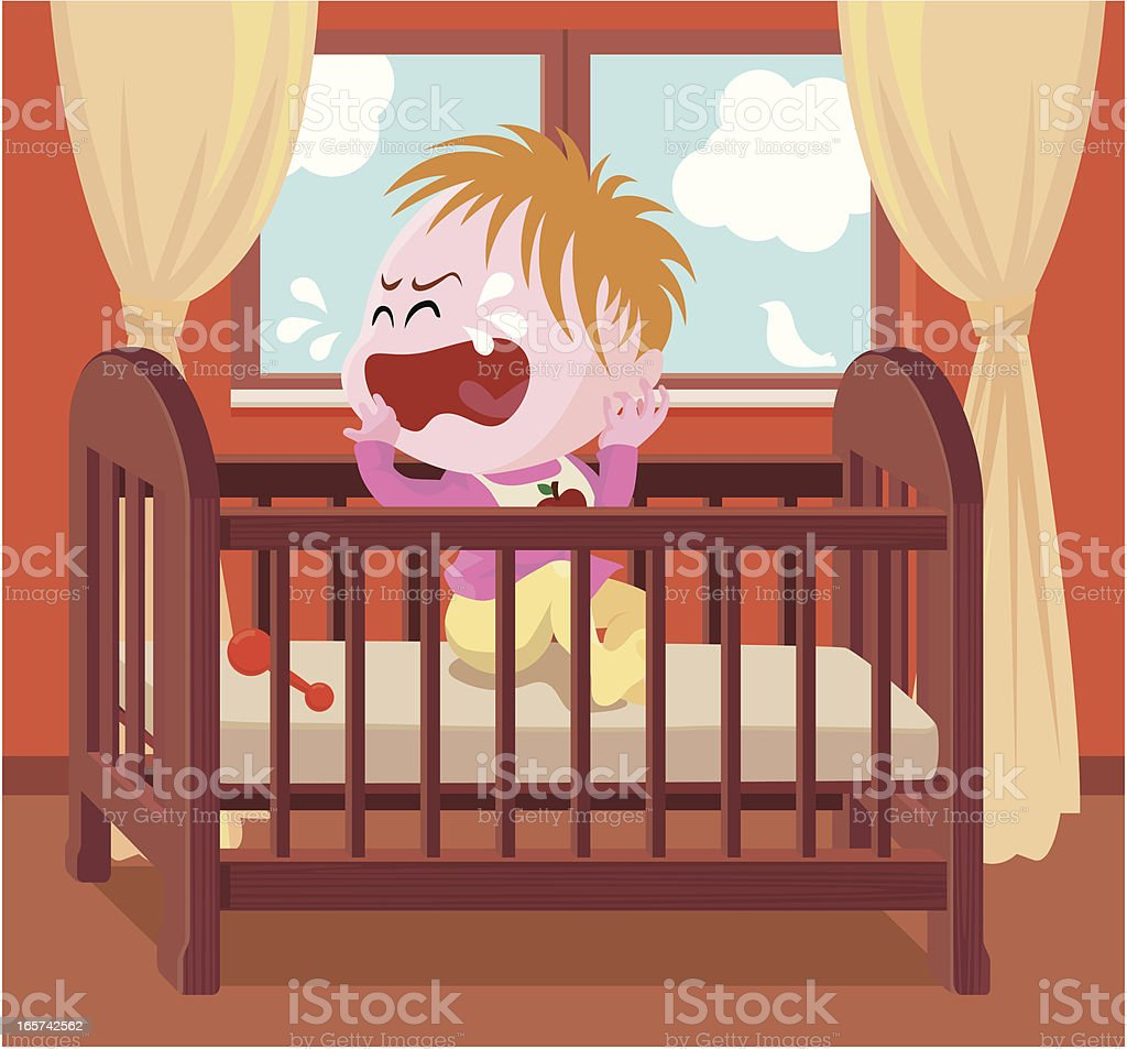 crying baby in crib royalty-free stock vector art