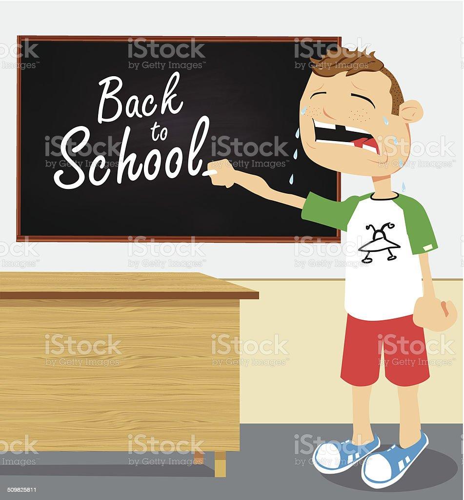Pleurer petit garçon à l'école stock vecteur libres de droits libre de droits