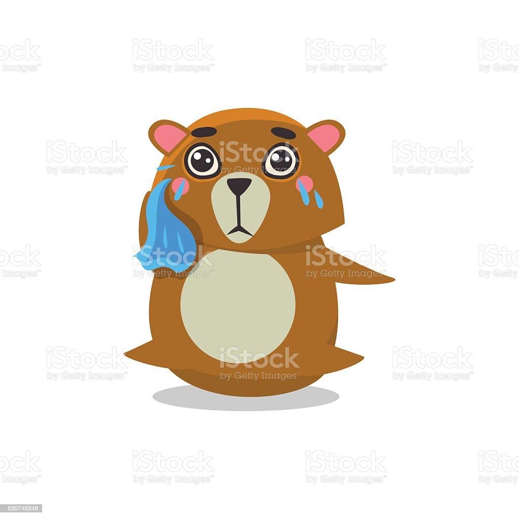 Crying Brown Bear vector art illustration