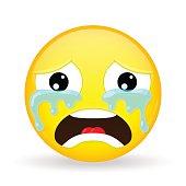 Crying emoji. Emotion of grief. Weeping emoticon.