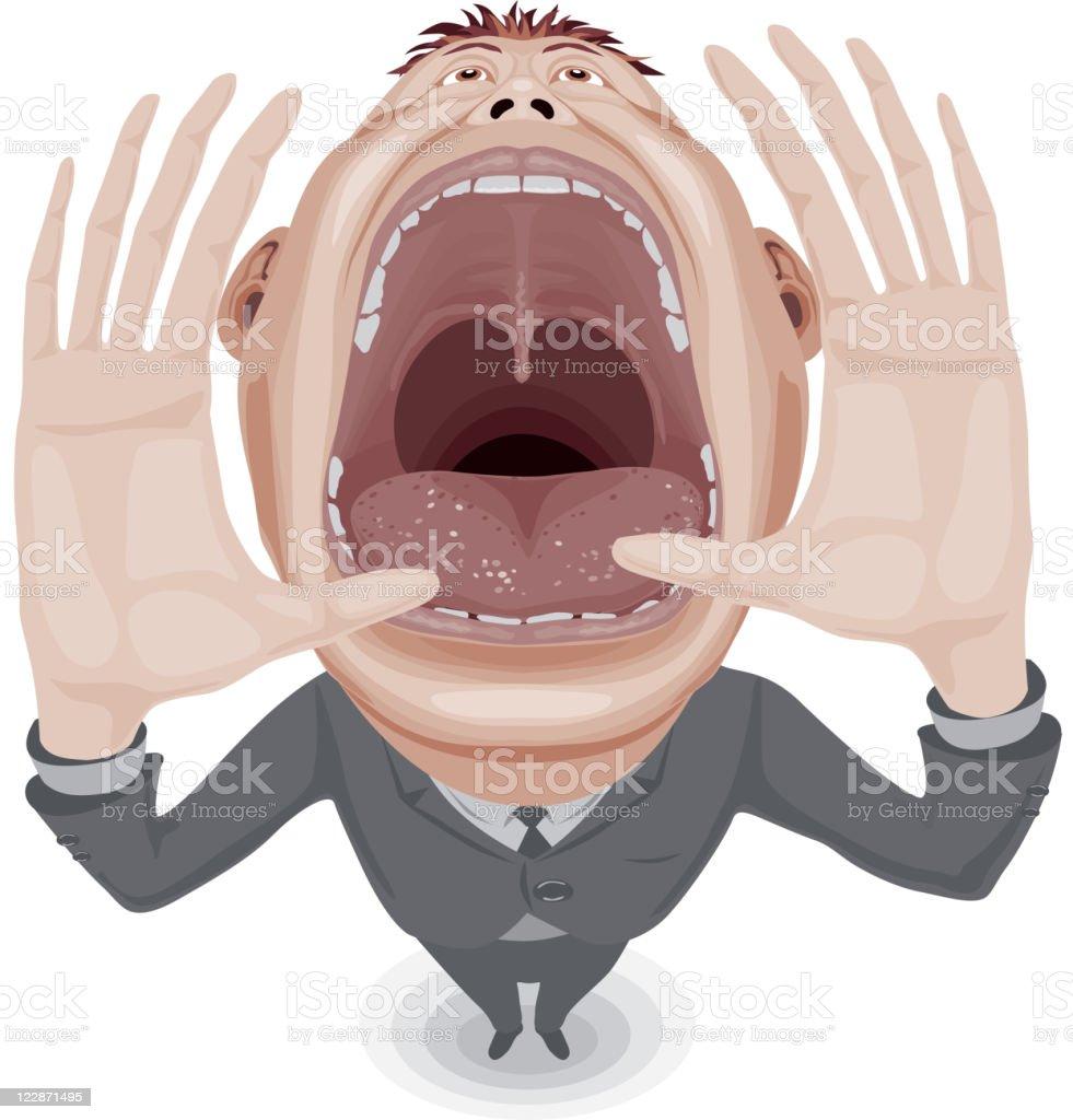 Crying man vector art illustration