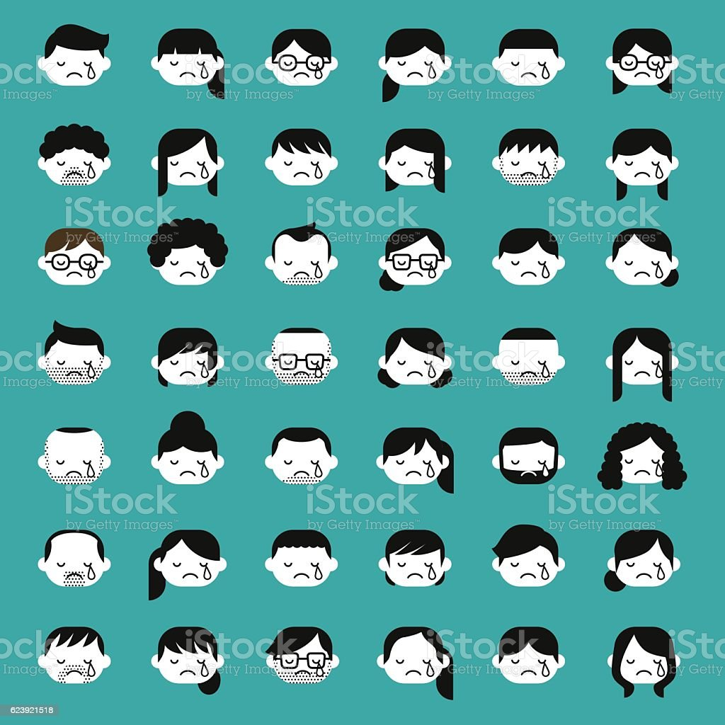 Crying people icons vector art illustration