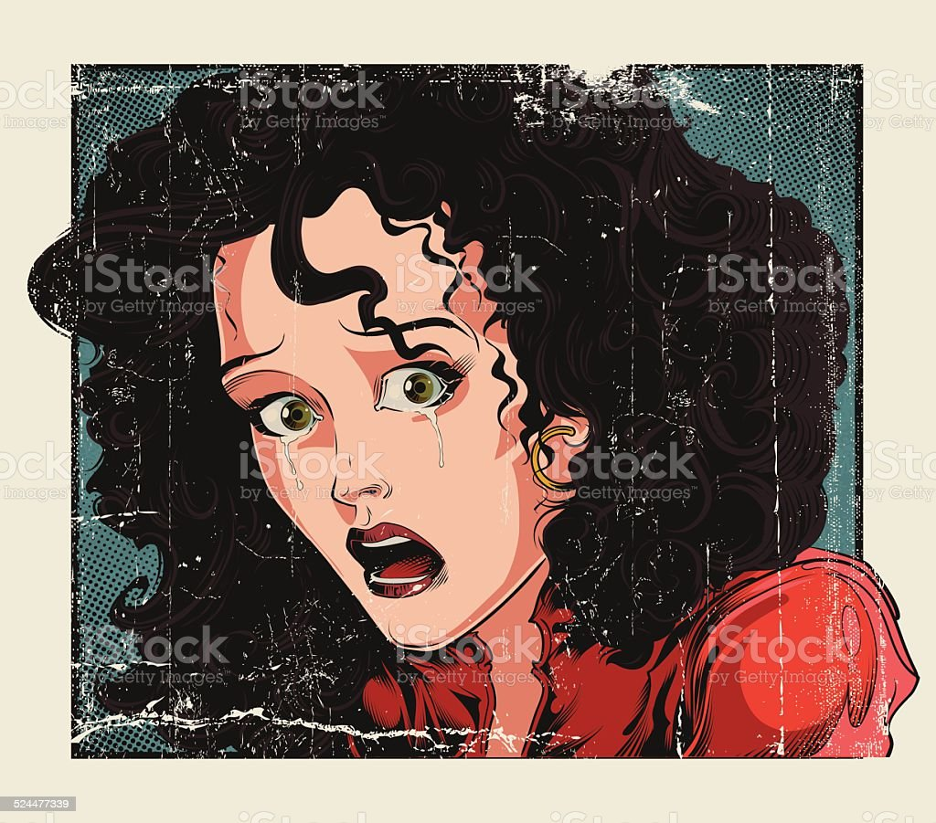 Crying woman vector art illustration