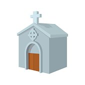 Crypt in cemetery cartoon icon