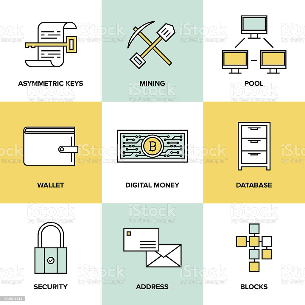 Cryptocurrency and digital money flat icons set vector art illustration